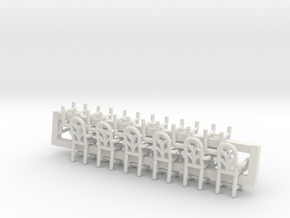 6 Cafe W Arms X12 HO Scale in White Natural Versatile Plastic