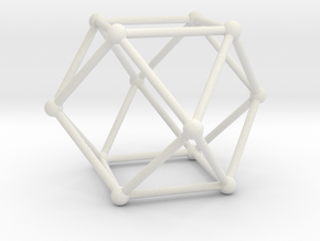 Cuboctahedron in White Natural Versatile Plastic