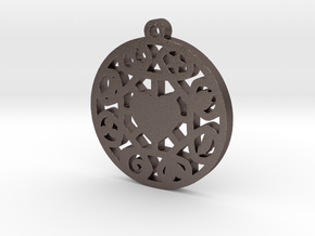 The Wheel of Time Pendant - By Celeste in Polished Bronzed Silver Steel