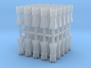 50x 2mm Scale Macunian Maji chimney pots in Smooth Fine Detail Plastic