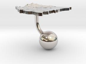 Nicaragua Terrain Cufflink - Ball in Platinum