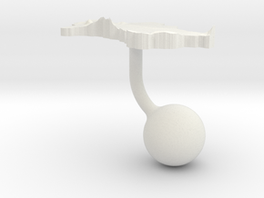 Turkmenistan Terrain Cufflink - Ball in White Natural Versatile Plastic