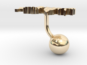 Switzerland Terrain Cufflink - Ball in 14K Yellow Gold