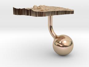 French Guiana Terrain Cufflink - Ball in 14k Rose Gold
