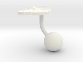 Sri Lanka Terrain Cufflink - Ball in White Natural Versatile Plastic