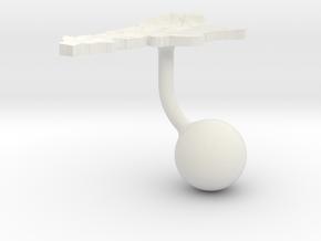 Argentina Terrain Cufflink - Ball in White Natural Versatile Plastic