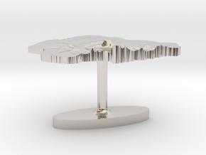Nigeria Terrain Cufflink - Flat in Platinum