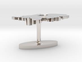 Netherlands Terrain Cufflink - Flat in Platinum