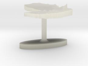 Paraguay Terrain Cufflink - Flat in Transparent Acrylic