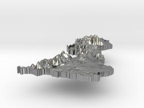 United Kingdom Terrain Silver Pendant in Natural Silver