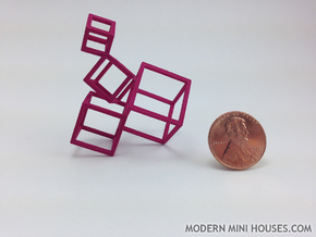 Cubed Art Sculpture 1:12 scale in Pink Strong & Flexible Polished