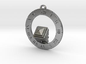 TARDIS Angled Top Half - Pendant in Natural Silver