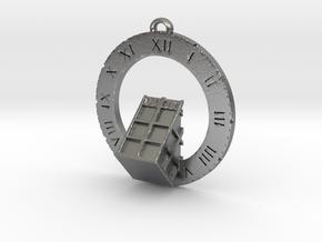 TARDIS Angled Bottom Half - Pendant in Natural Silver