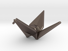 Origami Crane in Polished Bronzed Silver Steel