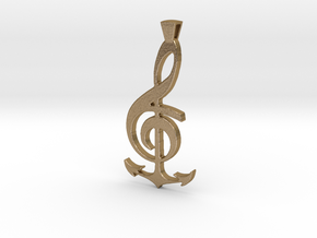 Note and Anchor Pendant in Polished Gold Steel