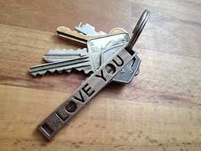 I Love You Key Chain in Polished Bronzed Silver Steel