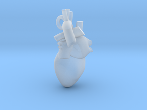 Human Heart Pendant in Smooth Fine Detail Plastic