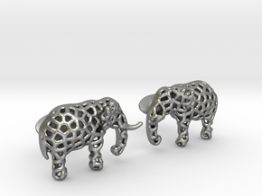 Elephant Cufflinks in Natural Silver