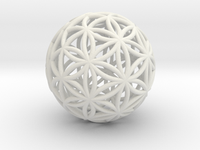 3D 25mm Orb Of Life (3D Flower of Life) in White Strong & Flexible