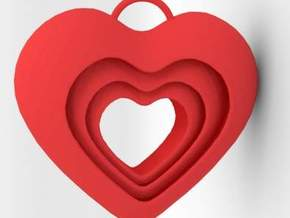 Pendant: Hearts within hearts in Red Processed Versatile Plastic