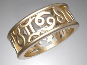 Constellation symbol ring 9.5 in Polished Gold Steel