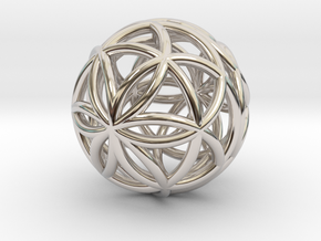 3D 25mm Orb of Life (3D Seed of Life)  in Platinum