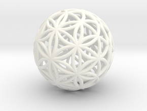 3D 33mm Orb Of Life (3D Flower of Life) in White Processed Versatile Plastic
