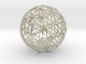 3D 50mm Orb of Life (3D Flower of Life)  in 14k White Gold