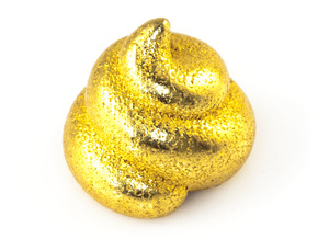 Lucky Golden Poo in Polished Gold Steel