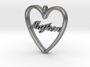 "Smykke - Hjerte med navn ""Majken"" in Raw Silver"