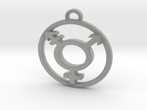 TransGender Pendant -Small in Metallic Plastic