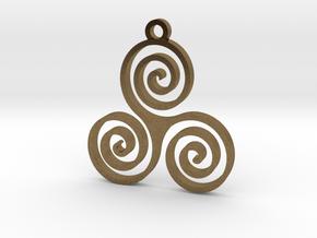 Triple Spiral (Triskele) - Sacred Geometry in Natural Bronze