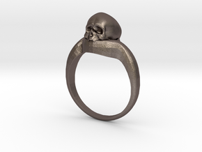 150109 Skull Ring 1 Size 9  in Polished Bronzed Silver Steel