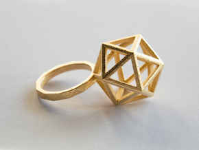 ico RING in Polished Gold Steel