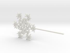 Snowflake #6 Cupcake or Treat Topper Pick in White Natural Versatile Plastic