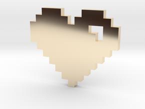 8 Bit Heart (Pixel Heart) in 14K Yellow Gold