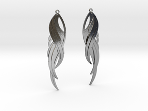 Feather Earrings in Polished Silver