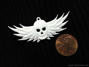 Winged Skull Pendant in White Processed Versatile Plastic