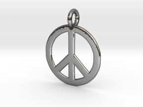 Peace Necklace in Fine Detail Polished Silver