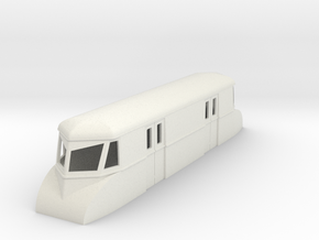 "009 bogie ""Flying Banana"" railcar parcel car in White Natural Versatile Plastic"