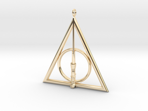 Deathly Hallows Pendant with Harry Potters's Wand  in 14K Yellow Gold