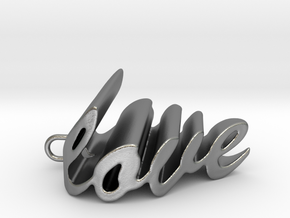 Love Heart Pendant - 25mm in Natural Silver