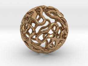 Gyroid Sphere Pendant in Polished Brass