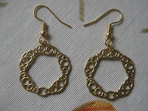 Torus Pattern 2 Earrings in Natural Brass