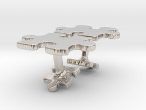 Puzzle Cufflinks in Platinum