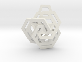 Triple Hexagon Pendant in White Natural Versatile Plastic