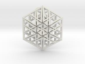 Triangular Hexagon Pendant in White Strong & Flexible