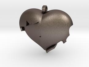 Broken Heart 1 in Polished Bronzed Silver Steel