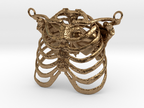 Ribcage With Stylized Heart Pendant in Natural Brass