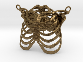 Ribcage With Stylized Heart Pendant in Natural Bronze